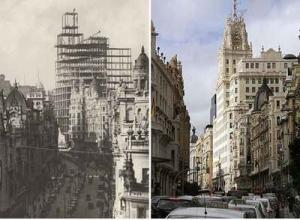 Bonito montaje que nos muestra el pasado y el presente de uno de los emblemas de la Madrid