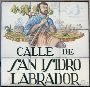 Placa de la calle dedicada al Patrón de Madrid, San Isidro Labrador