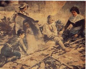 Obra que representa el momento en el que Andrea Isabel Tintero rescata el lienzo de la Virgen de la Paloma