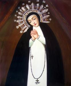 Este es el lienzo que representa a la Virgen de la Paloma, una de las imágenes más queridas de Madrid.