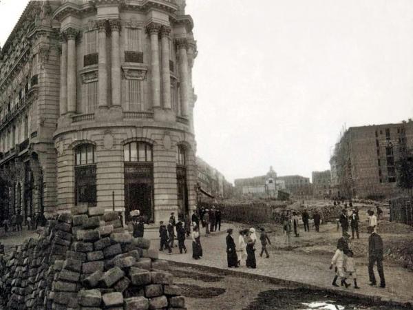 Obras de la Gran Vía, en 1910, en Madrid