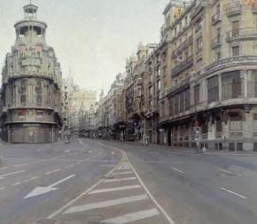 la Gran Vía dibujada por Antonio López desde la isla protagonista del artículo, Madrid