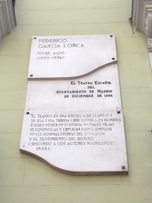 Casa de García Lorca, en la Calle de Alcalá 96