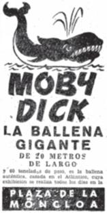 Anuncio en el ABC del espectáculo de Moby Dick en Madrid