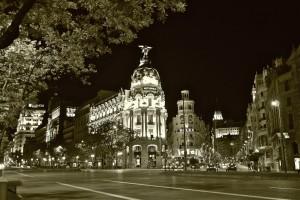 Gran Vía y Alcalá de noche, Madrid