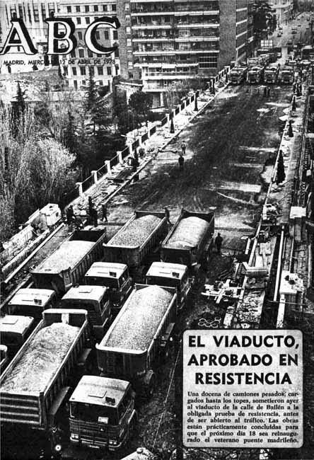 Prueba de resistencia del viaducto, portada del ABC de 1978, Madrid