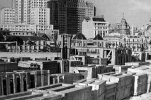 Templo de Debod desmontado en cajas, Madrid