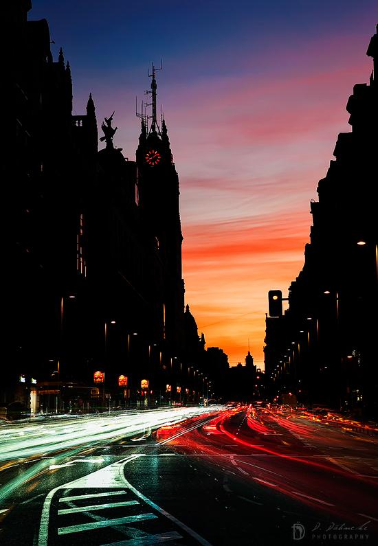 Gran Vía, la arteria de Madrid (España)