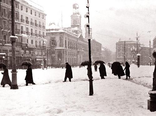 Nieve en la Puerta del Sol, Madrid